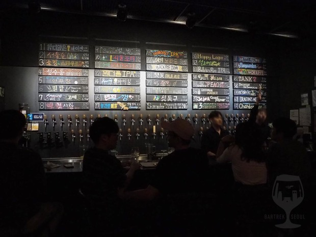 The tap list has 62 different beers on tap.