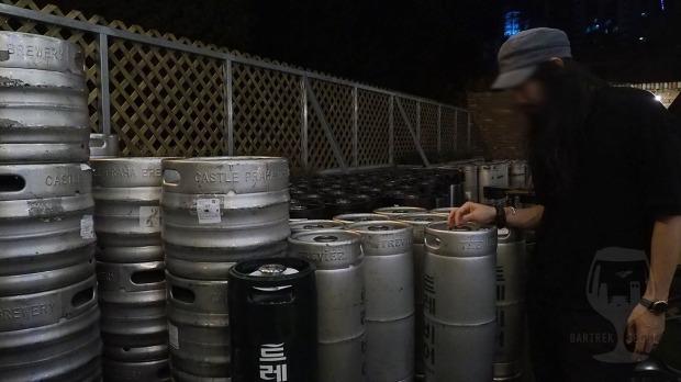Beer kegs at the brewery yard.