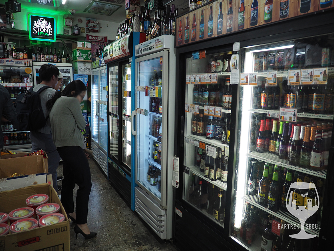 Inside the shop you will see a dozed of beer fridges covering the walls.
