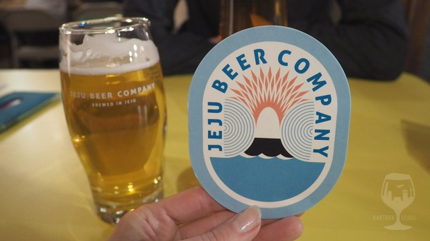 Jeju beer company coaster close up.