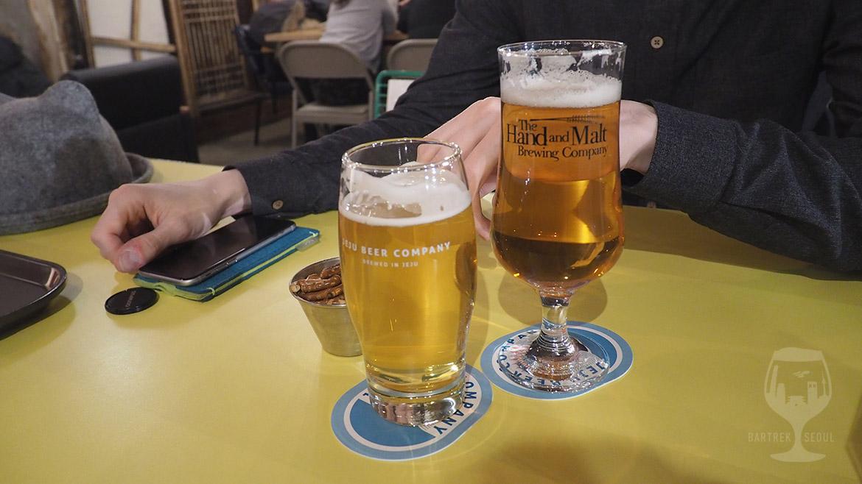 Two glasses of korean craft beer.