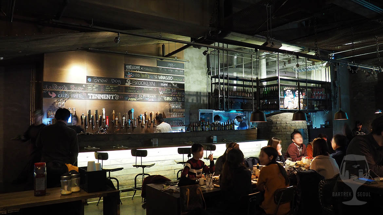 Industrial interior, craft beer pub in Seoul, South-Korea