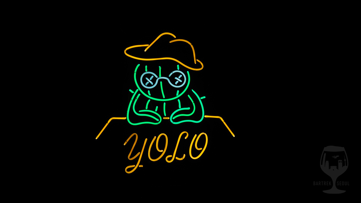 YOLO cactus man neon sign.