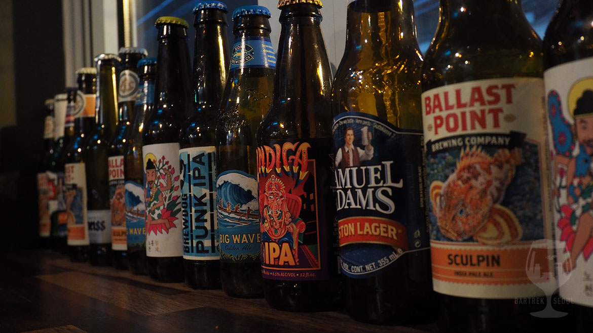 Indica, Punk ipa, ballast point, the booth, big wave etc. craft beer bottles.
