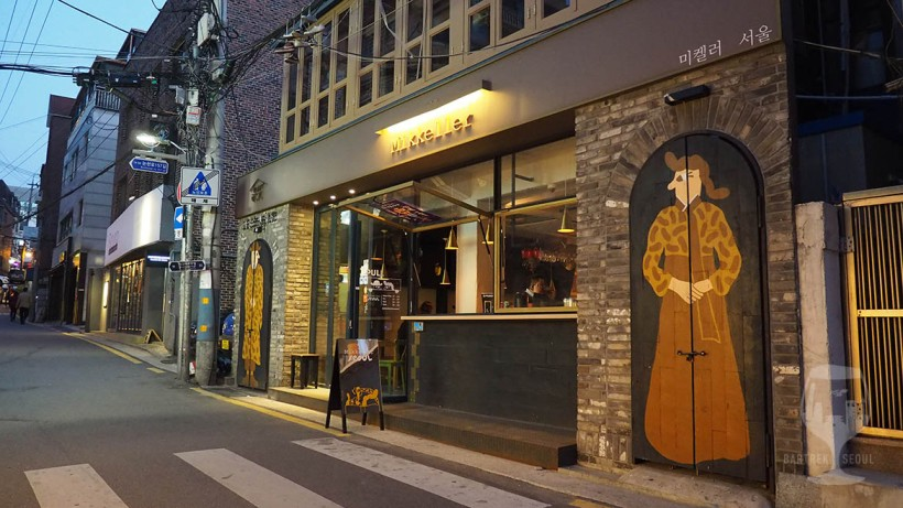 Mikkeller, Danish craft beer, pub in Seoul. Unique venue with great atmosphere and delicious craft beer on draft and bottles. Imported craft beer. Artsy venue.